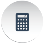 button shaped circle with grey calculator