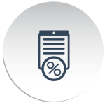button shaped circle with grey folder and percentage sign