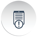 button shaped circle with grey file and alert sign